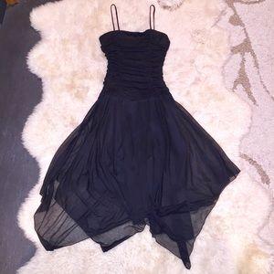 XOXO Handkerchief Drop Waist Black Dress